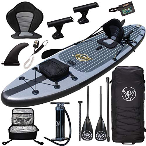 "Premium Inflatable Stand Up Paddle Board - 11'6"" x 32"" x 6"" - Complete Fishing & Touring Inflatable Paddle Board Kit - Includes Full Accessories Seat, Travel Bag, Cooler, 2+1 Fin System, Pump, Paddle"