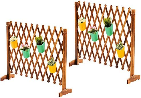 2 Pack Expanding Freestanding Wooden Trellis Fence Garden Screen with Mobile and Fold able Design product image