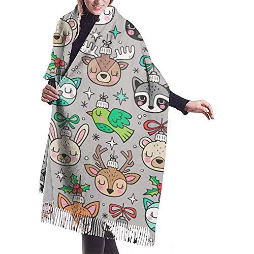 Cathycathy Kerstvakanties bos dieren op lichtgrijze sjaal wrap winter warme sjaal cape grote zachte sjaal wrap
