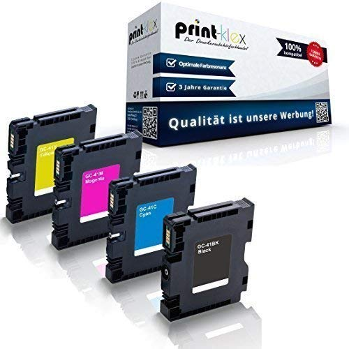 4x kompatible Druckerpatronen für Ricoh Aficio SG2100 SG2100N SG3100snw SG3110dn SG3110dnw SG3110n SG3110sfnw SG7100dn SG-K3100DN Black Cyan Magenta Yellow - Sparset KCMY GC-41 GC41 - Eco Office Serie