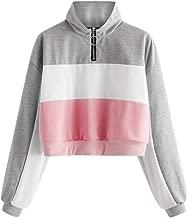 TWGONE Quarter Zip Pullover Womens Athletic Crop Top Turtleneck Long Sleeve O-Ring Zipper Color Block Sweatshirt