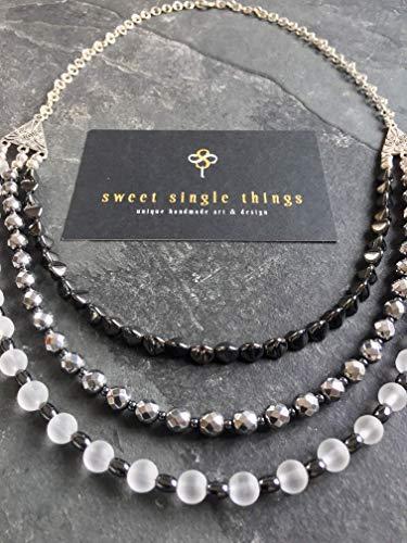 Perlenkette, Halskette, mehrreihig, drei-reihig, Bohemian, Halbedelstein, Hämatit, Kette, necklace, elegant, Business, Geschenk