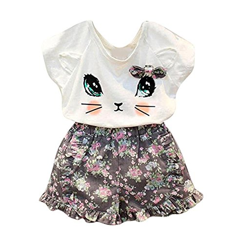 puseky Toddler Baby Girls Cute Cat T-Shirt+Floral Shorts Kids Summer Clothes Set (4T-5T, White+Floral)