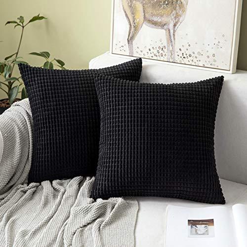 MIULEE 2er Set Kordsamt Soft Solid Dekorative Quadrat Wurf Kissenbezüge Set Kissen Fall für Sofa Schlafzimmer 24 x 24 inch 60 x 60 cm Big Corn Schwarz
