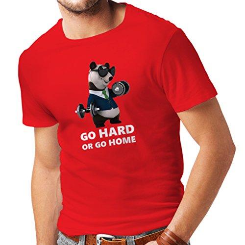 lepni.me Camisetas Hombre Vuélvete difícil o Vete a casa - Boxeo, Levantamiento de Pesas, Gimnasio, Fitness (XX-Large Rojo Multicolor)