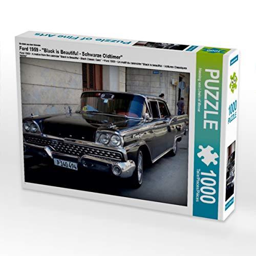 CALVENDO Puzzle Ford 1959 - EIN Motiv aus dem Kalender Black is Beautiful - Schwarze Oldtimer 1000 Teile Lege-Größe 64 x 48 cm Foto-Puzzle Bild von Henning von Loewis of Menar