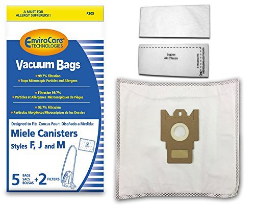 EnviroCare Replacement Allergen Filtration Vacuum Cleaner Dust Bags made to fit Miele F, J, M Canisters 5 pack with 2 filters