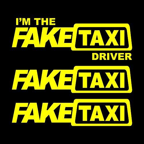 Autodomy Faketaxi Fake Taxi und I'm The Fake Taxi Driver Aufkleber Paket 3 Stück für Auto oder Motorrad