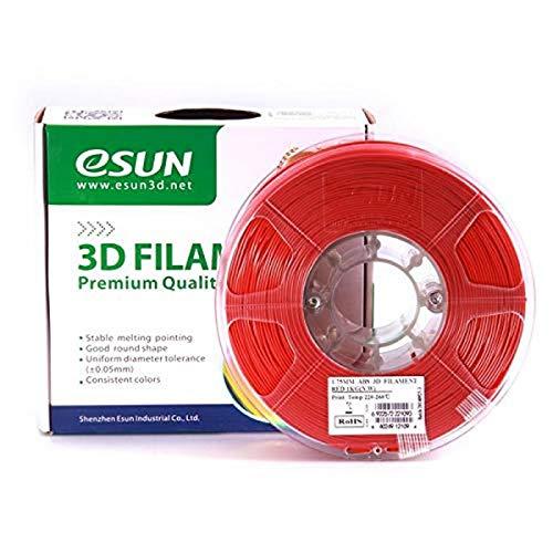 eSun Filamento ABS per stampanti 3D, 1 kg, 1,75/3,00 mm - disponibile in diversi colori, temperatura di stampa 220-260 ℃, per stampanti 3D come MakerBot, RepRap, MakerGear, Ultimaker, Mendel, Huxlep UP, Thing-o-matic, Universale, 1.75mm, Rot
