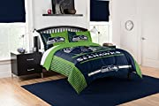 """Features NFL team helmet above team name and logo; background is bold team color Soft, cozy and warm; set comes with comforter and two shams Comforter measures 102""""W x 86""""L; Shams measure 24""""W x 30""""L Comforter: Machine wash cold separately using deli..."""