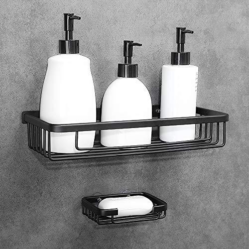 Hoomtaook Bath Shower Caddy Drill-free Bath Organizer Kitchen Storage Basket No Drilling Shower Caddy Adhesive Wall Mounted Strong Shower Caddies Kitchen Racks