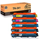 FITUWORK TN241 TN245 Remplacement pour Brother TN241 TN245 Compatible avec Brother DCP-9020CDW DCP-9015CDW HL-3140CW HL-3150CDW HL-3170CDW MFC-9340CDW MFC-9140CDN MFC-9330CDW (5 Pack)
