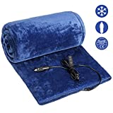 Audew Heated Car Blanket, 12V/24V Electic Car Blanket, Flannel Car Heating Blanket with Temp & Time Perset Switch Controller, Heated Blanket for Car, Truck, Boats & RV (59'x 43')