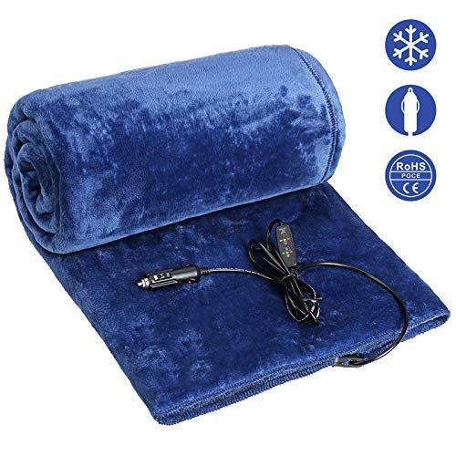 Audew Manta Eléctrica Manta de Calefacción Eléctrica para Coche 12V 24V DC Franela Almohadillas de Calor con 3 Niveles de Calentamiento Protección contra el Sobrecalentamiento 110cm x 150cm Azul