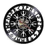 Norse talisman aegishjalmr helm de awe símbolo de protección vintage reloj de pared relojes de vinilo brújula vikinga decoración de pared con LED