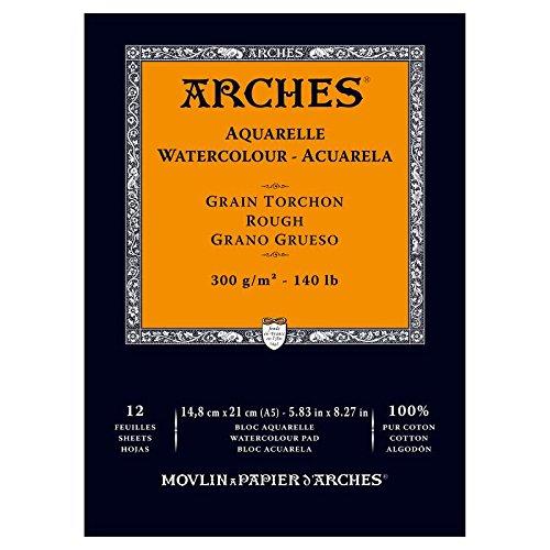 Arches - Papel de acuarela, bloc 12 hojas engomado 1 lado, grano grueso, 300 g/m², A5