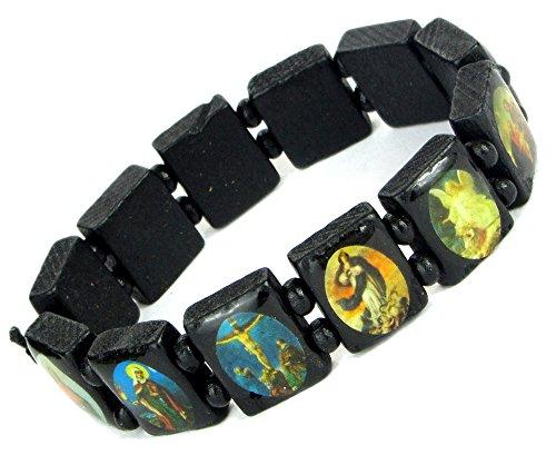 Lovely Lauri Holz Armband Heiligen Bilder Ikonen Damen Herren Gummizug Schwarz