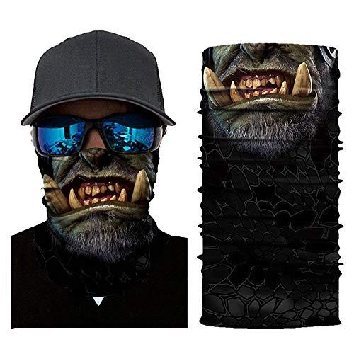 TOPEREUR Unisex Bandanas Multifunktionstuch Herren Damen Halstuch Skull Maske Schlauchschal Motorrad Gesicht Mundschutz Chopper Mund-Tuch Gesichtsmaske Sturmmaske Atmungsaktiv Schnelltrocknend