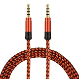 BuyKarNow® Nylon Braided 3.5mm Male to Male Audio AUX Cable for Car, Laptop