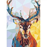 KGCFUNYP 5Dクロスステッチキットダイヤモンド絵画 ダイヤモンド塗装 ダイヤモンドアート 全面貼り付けタイプ ビーズアート 5D モザイクアート ハンドメイド DIY 手芸キット 30*40cm 幾何学的な鹿