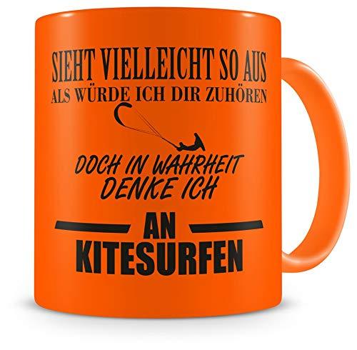 Samunshi® Tasse Kitesurfen mit Spruch Kite surfing Geschenke für Mann Frau Kaffeetasse groß Lustige Tassen witzige Teetasse XXL neon orange
