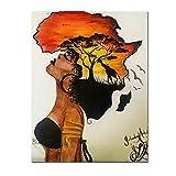 HYFBH Classique Africain Femme Peintures Abstrait Coucher De Soleil Paysage Mur Art Toile Impressions Et Affiches Photos Décor À La Maison 60x80 cm (23.6'x31.5) avec Cadre