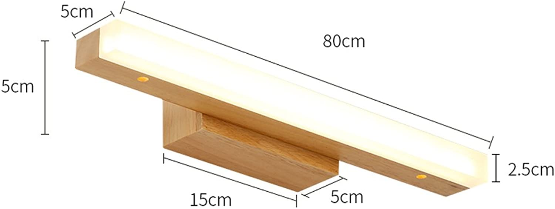 Massivholz, 13W, Spiegelleuchte, LED Wall Washer, Spiegelleuchte Cabinet Light, Badezimmer Einfache Kommode Wandleuchte, Warm 80cm