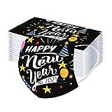 10 Stücke Damen Herren Mundschutz mit Motiv Einweg Erwachsene Mund-Nasen-Schutz Weihnachten Bunt MNS Mund und Nasenschutz 2021 Happy New Year Druck Maske Atmungsaktive Bandana Halstuch (C)