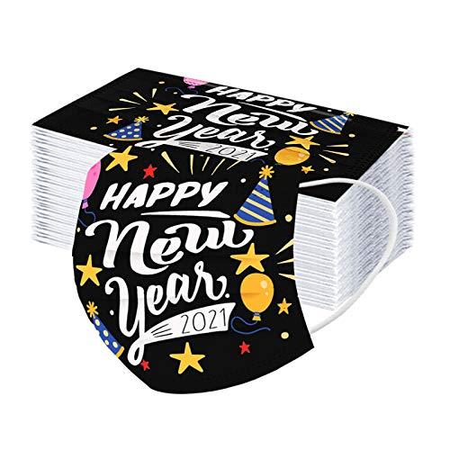 LEORTKS Neu Unisex Winddicht Neckwarmer Mundschutz 2021 Happy New Years Adult Einweg Weihnachts 3-lagige Ohrring Gesichts Atmungsakti Mundschutz für Outdoor Radfahren