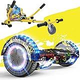 FUNDOT Fondo Hoverboards con Sedile,Scooter con hoverkart,Go Kart 6,5 Pollici,Hoverboards con bellissime luci LED,Hoverboards con Altoparlante Bluetooth, Regalo per Bambini