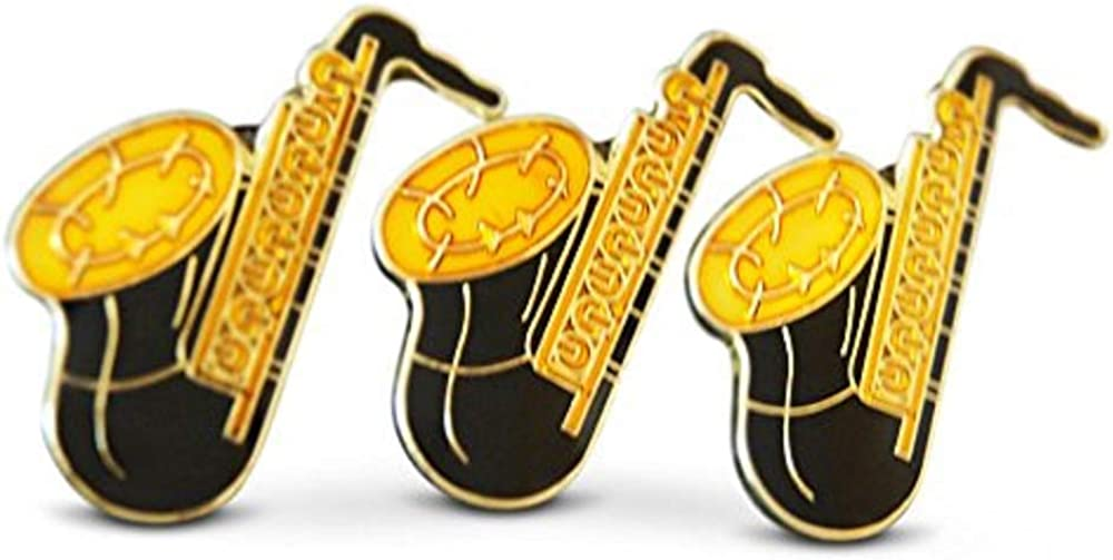 Novel Merk 3-Piece Brass Saxophone Musician Lapel or Hat Pin & Tie Tack Set with Clutch Back