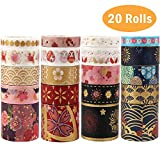 20 Rolls Gold Foil Stamping Washi Masking Tape Set, Sticky Paper Tape, Crafts Tape for DIY, Bullet Diary Decorative, Gift Wrapping, Scrapbook, Office, Party Supplies, Collection