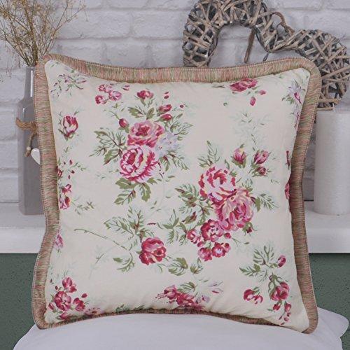 UK Care Direct Country Rose Coussin 100% Coton Bordure filetée, Intérieur en Polycoton, with Polycotton Inner