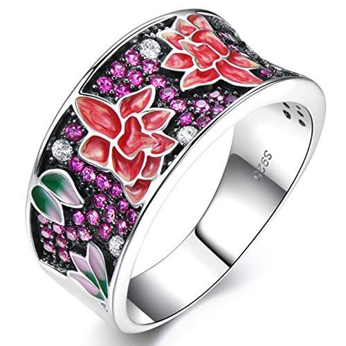 XIRENZHANG Anillo de plata de ley 925 para mujer, creativo, personalidad, hecho a mano, esmaltado, planta y flor, anillo sencillo (7#, 8#, 9#) morado 9#