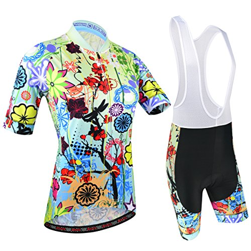 BXIO Abbigliamento Ciclismo Donna, Maglie Ciclismo Maniche Corte con Pantaloncini Ciclismo da Ciclismo Asciugatura Rapida per MTB Ciclista, Motivo Floreale, M