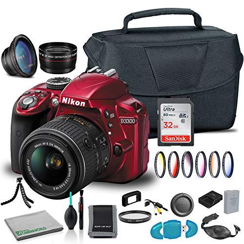 Nikon D3300 DSLR Camera with 18-55mm Lens (Red) (1533) USA Model + Camera Bag + Wide Angle Lens + 6 Piece Graduated Filter Kit + SanDisk 32GB Ultra Memory Card + 2X Telephoto Lens + More