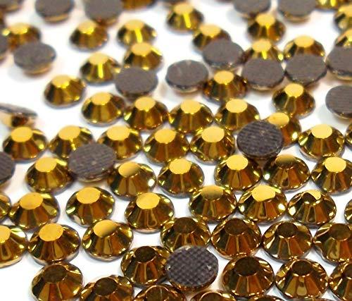 720 unidades Hot Fix de 6 mm, parte trasera plana de cristal SS30 HotFix, redondas, 5,5 ~ 6 mm (dorado metalizado)