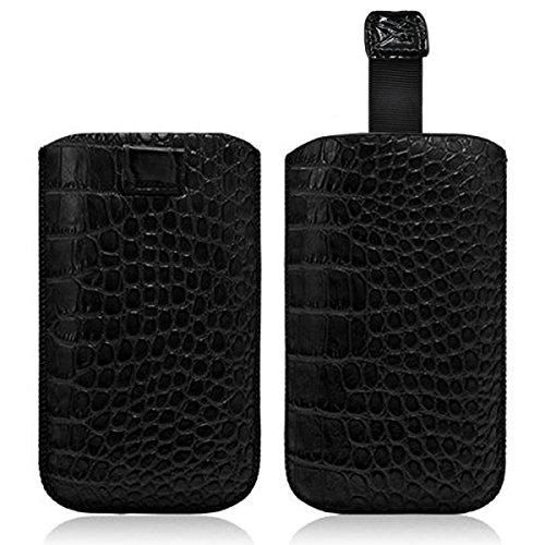 Seluxion–Carcasa con tirador estilo cocodrilo color negro para Sony Xperia M/Xperia Z1Compact/Xperia L