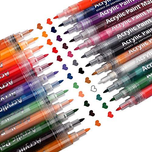 Acrylstifte Marker Stifte (24 PCS),Bemalen Marker Paint Pen Schnelltrocknend Paint Marker Set Acrylstifte Marker Stifte für Steine, DIY Fotoalbum