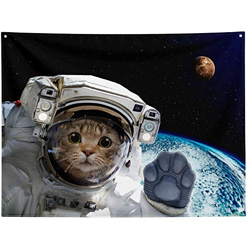 Space Tapestry,Cat Tapestry,Funny Space Astronaut Cat Tapestry Wall Hanging,Cool Outer Space Galaxy Cute Cat Spaceman Tapestry Hippie Trippy Large Wall Tapestry for Bedroom Aesthetic Living Room College Dorm Home Decor Decoration Wall Art 80x60 inch