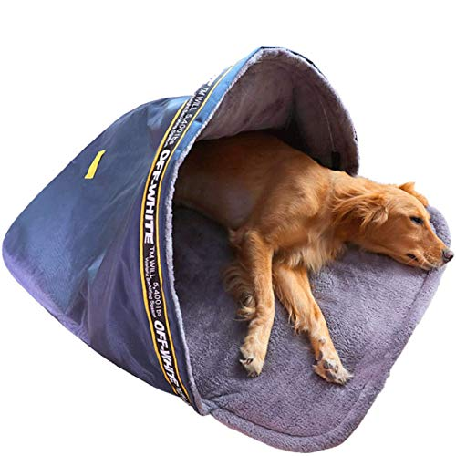 EREW Saco De Dormir De Invierno Cálido para Mascotas, Adecuado para Tiendas De Campaña para Perros Grandes Y Medianos, Saco De Dormir para Perros Plegable, Gran Espacio, Tela Impermeable,L