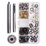 Gasea 120PCS Kit de herramientas de ojetes, Acero Inoxidable Herramienta de Montaje de Arandela, Remaches de Cuero Pernos de Metal