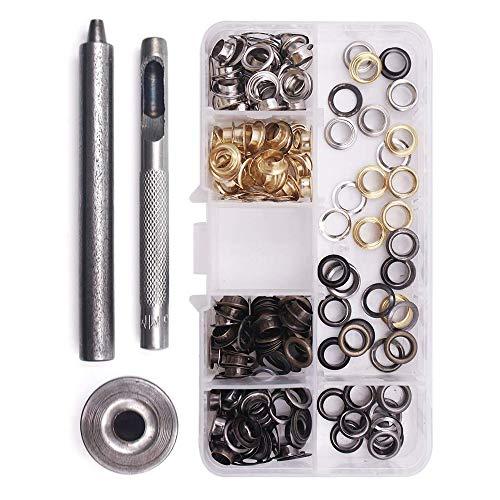 Gasea 120PCS Kit de herramientas de ojetes, Acero Inoxidable Herramienta de Montaje...