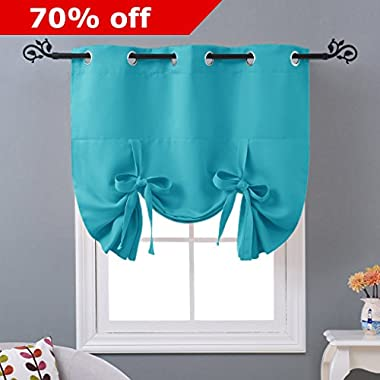 NICETOWN Insulated Blackout Curtain Turquoise Blue - Basement Window Curtain Tie Up Valance for kitchen (Grommet Top Panel, 46  W x 63  L)