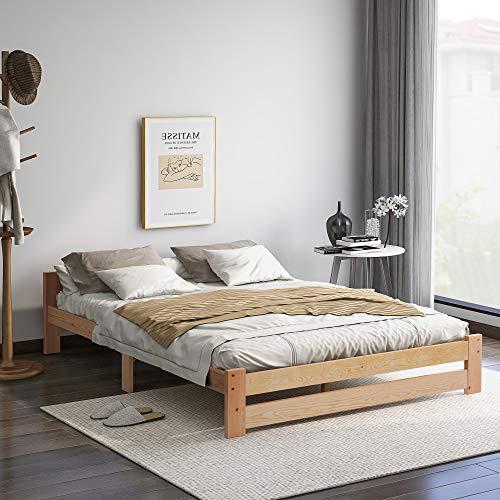 Cama futón de madera maciza natural, con cabecero y somier, natural (200 x 140 cm)