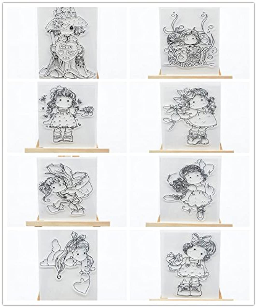 Welcome to Joyful Home 8pcs/Set Cute Girl Clear Stamp for Card Making Decoration and Scrapbooking