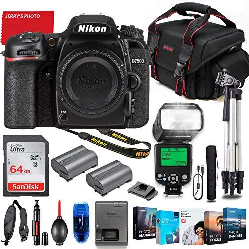 Nikon D7500 DSLR Camera Body Only Bundle + Premium Accessory Bundle Including 64GB Memory, TTL Auto Multi Mode Flash, Photo/Video Software Package, Shoulder Bag & More