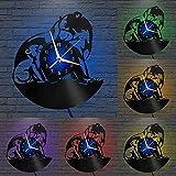 yltian Disco de Vinilo Reloj de Pared Retro Hecho a Mano Oso Polar Vinilo Reloj de Pared álbum de música Reloj Regalo de cumpleaños único