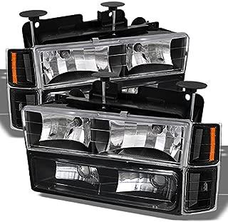 For 1994-1998 Chevy C/K 1500/2500/3500 Tahoe Suburban Full Size C10 Black Headlights Left+Right Headlamp