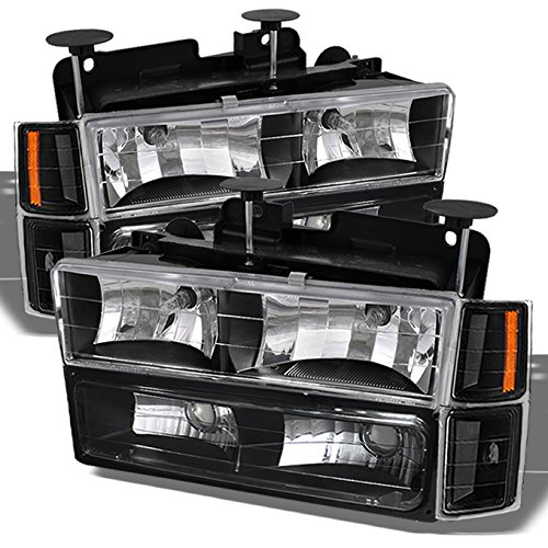 For 1994-1998 Chevy C/K 1500/2500/3500 Tahoe Suburban Full Size C10 Black Headlights Left+Right Headlamp